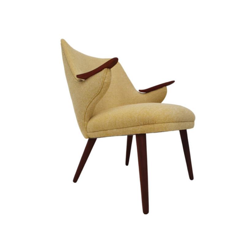 Erling Olsen, completely renovated – reupholstered Danish armchair, 60s, KVADRAT wool
