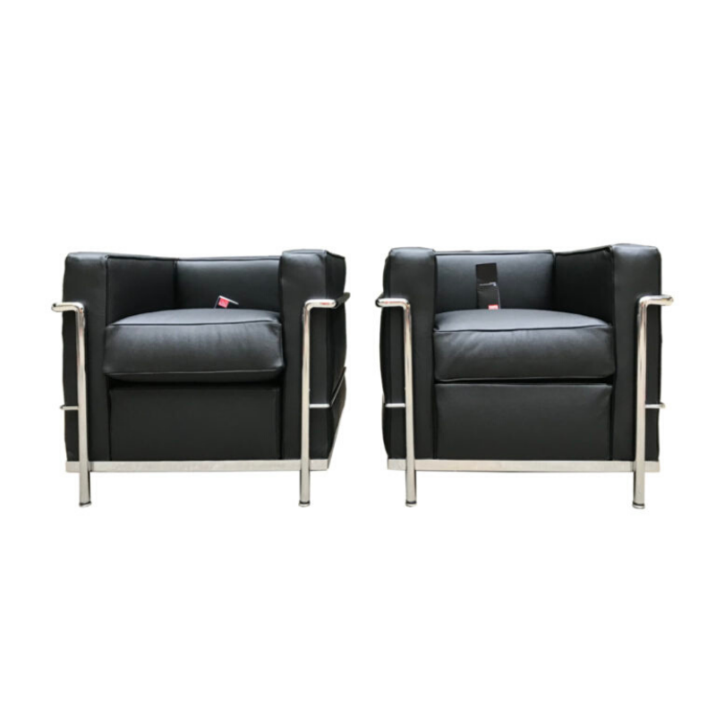 Le Corbusier_ Charlotte Perriand Pair of armchairs LC2