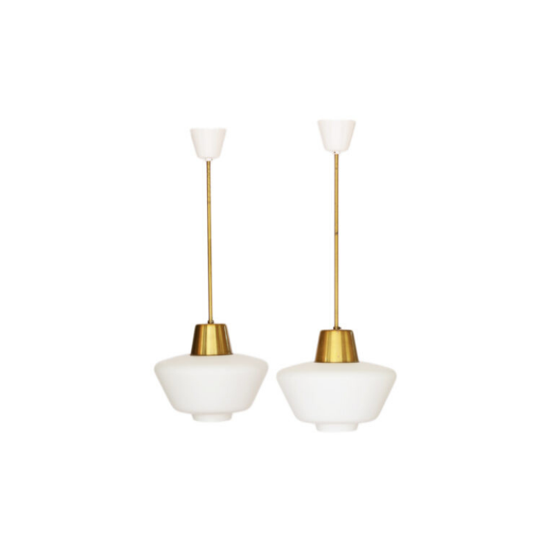 Pair of brass ceiling lights with hand blown opaline glass shades. Sweden 1960s.