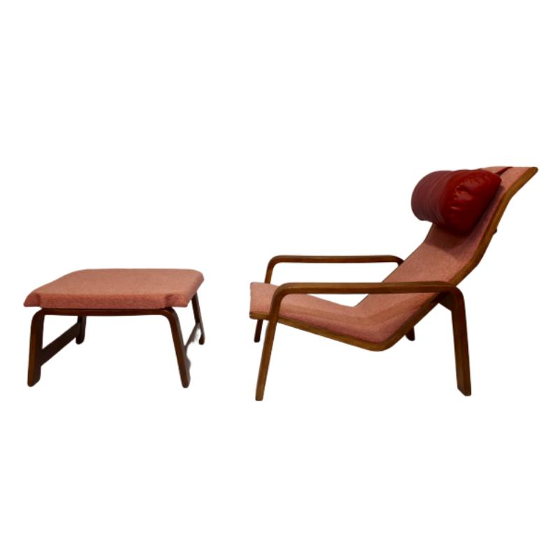 Pulkka armchair and ottoman by Ilmari Lappalainen for Asko, 1963