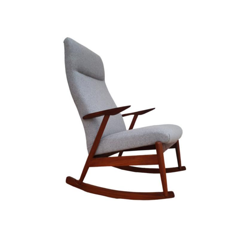 Rocking chair, scandinavian design, teak wood, 60's, completely reupholstered