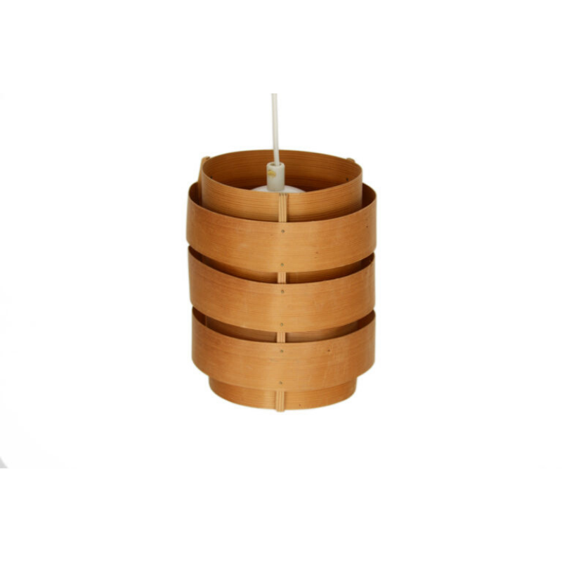 Small pine veneer pendant light T499_1 Rolf by Hans-Agne Jakobsson for Ellysett AB. Sweden 1960s