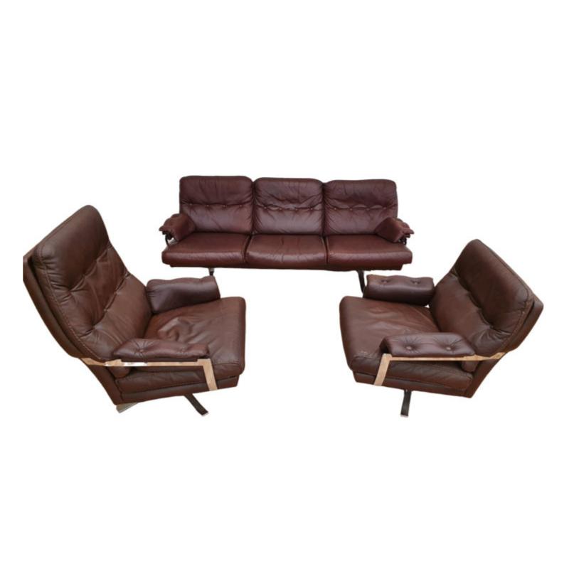 Swedish design 70s, Arne Norell sofa set, original upholstery, leather, chrome steel