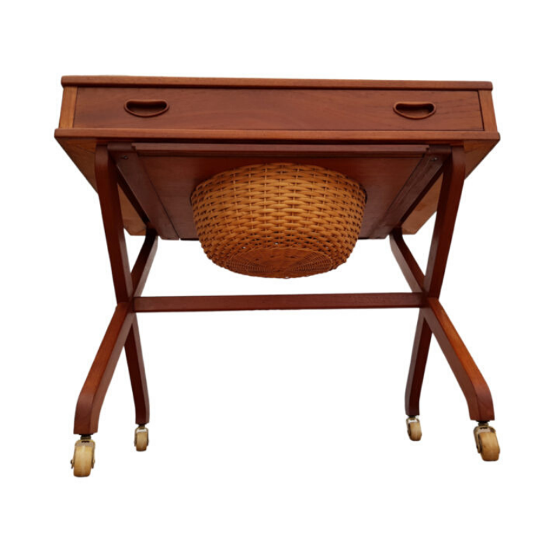 Vintage Danish sewing table, teak wood, 60s