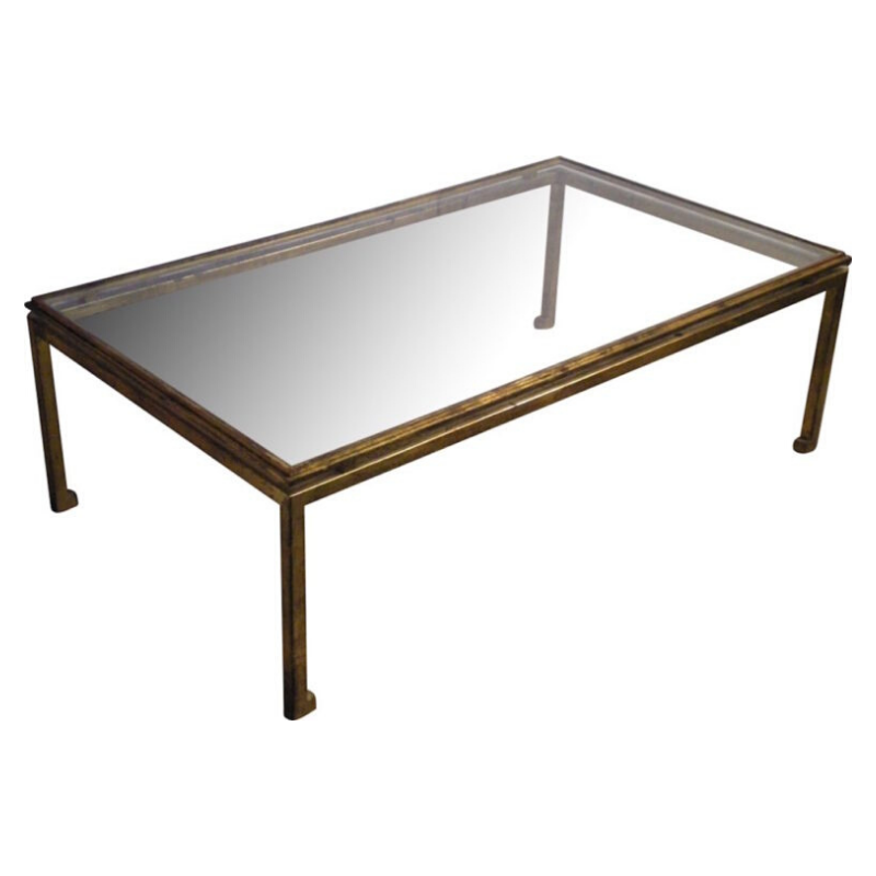 Vintage Glass And Wrought Iron Coffee Table Gilded By Henri Pouenat For Maison Ramsay-2