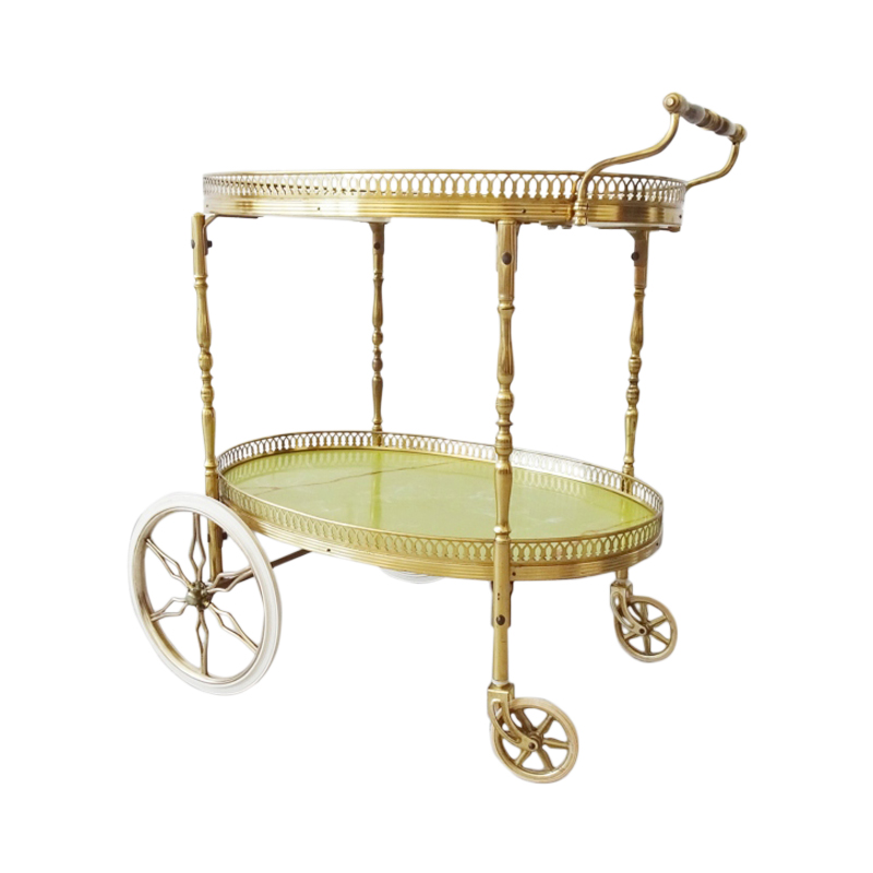 Serving trolley made of brass and marble look, mid century bar trolley, golden tea trolley