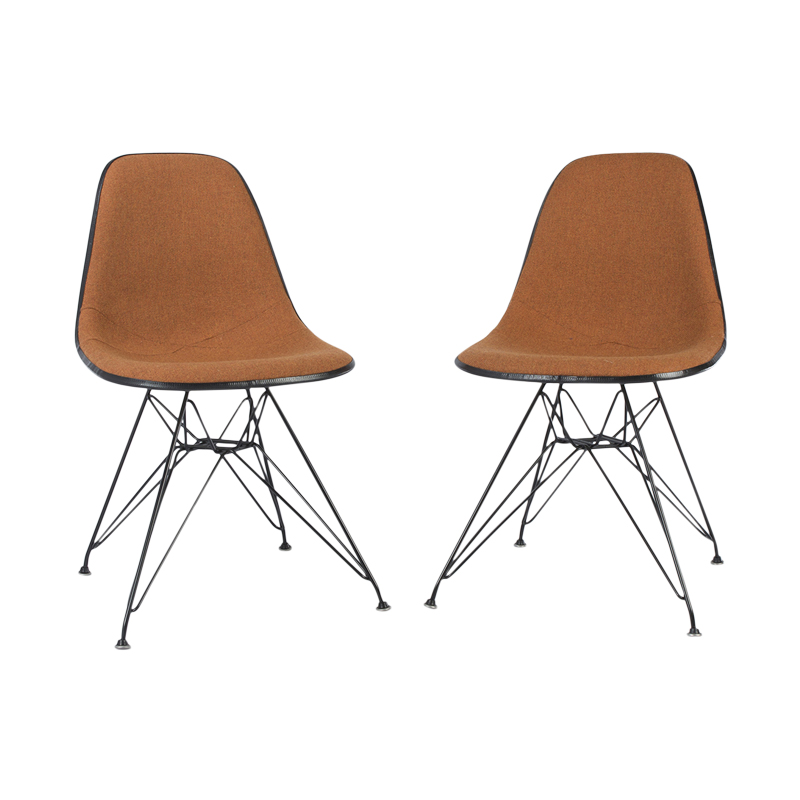 Orange Marmalade Pair (2) Herman Miller Original White Eames DSR Side Shell Chair