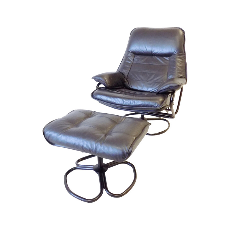 Danish Black Swivel Leatherchair with ottoman 60s