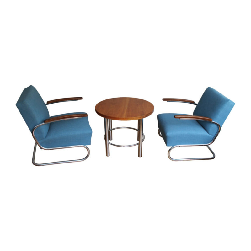 1930's Modernist Lounge Chairs with Coffee Table Set by Walter Schneider and Paul Hahn for Gottwald