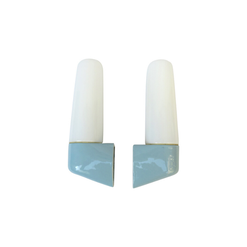 One pair of mirror lights, designed by Wilhelm Wagenfeld for Lindner, 3rd generation, in light blue