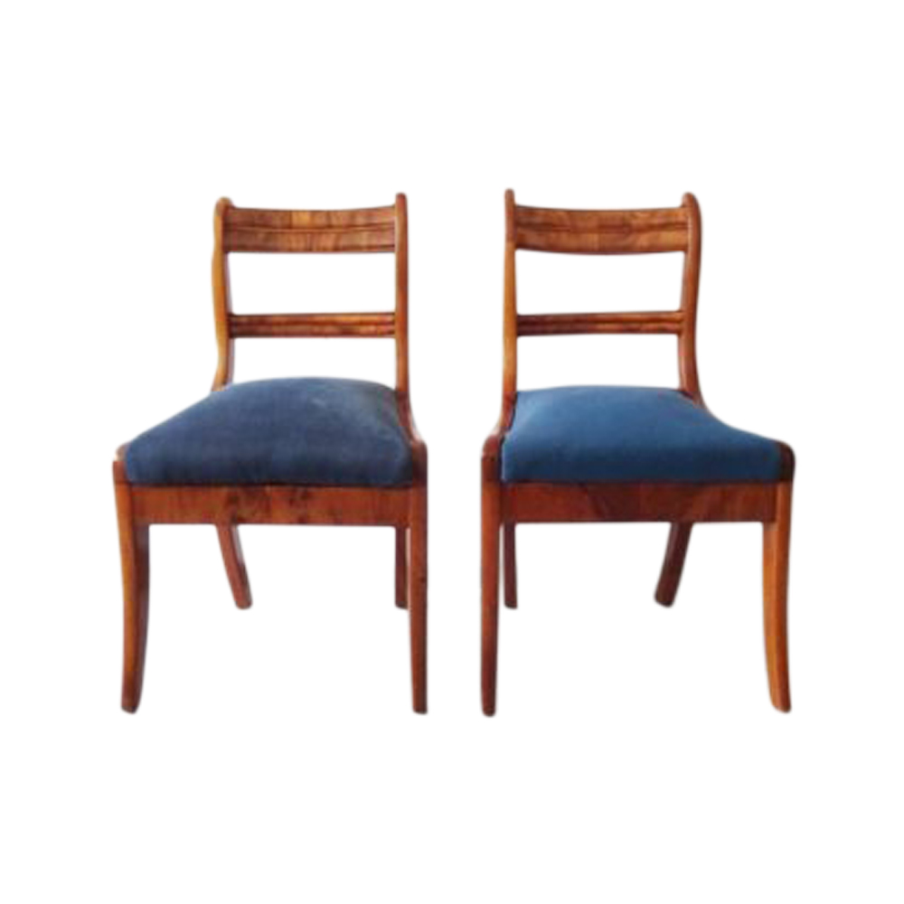 Biedermeier chair set made of solid walnut and walnut veneer, antique upholstered chairs