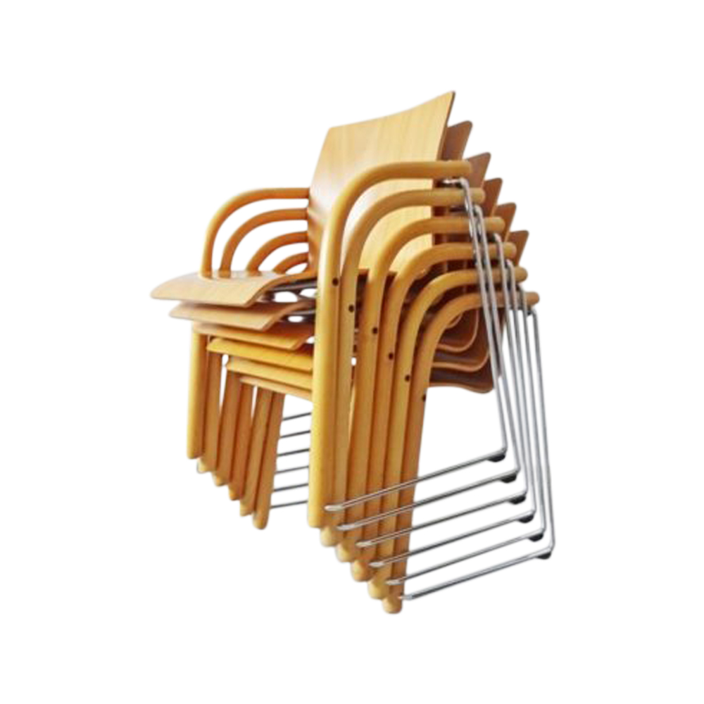 Thonet S320 by Ulrich Böhme and Wulf Schneider set of six, stacking chairs, armchairs, desk chairs