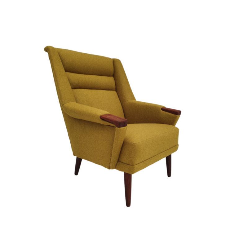 Danish armchair, completely renovated – reupholstered, 70s, wool, teak wood