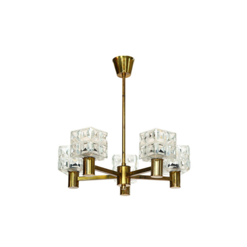 Five arm brass chandelier with crystal shades from Tyringe Konsthantverk. Sweden 1950s.