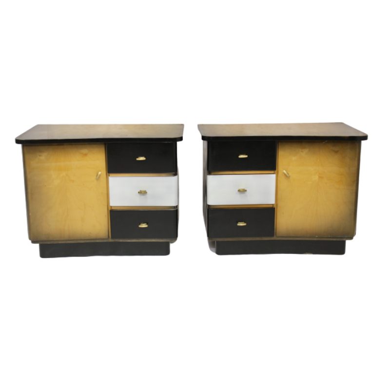 Pair of two-tone bedside tables with a black and white makeover