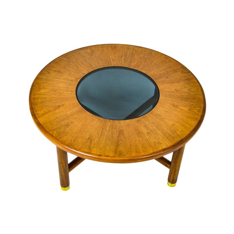 G PLAN Teak Wood Round Coffee Table With Smoked Glass Top ...