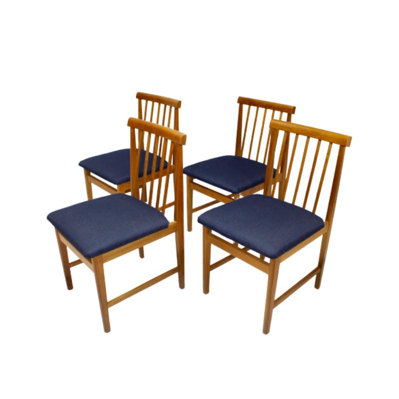 Set of 4 Scandinavian chairs year 50 restored dark blue fabric.