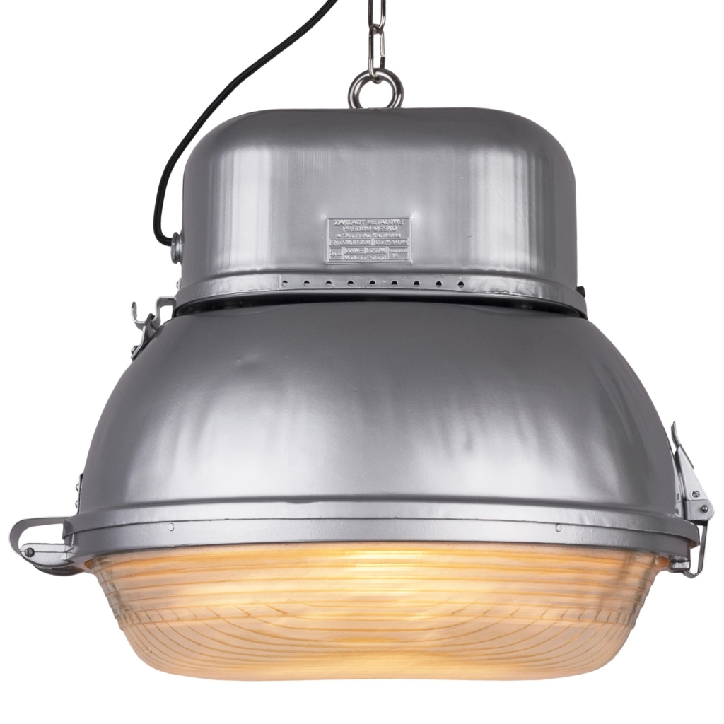 Silver industrial pendant lamp from MESKO, 1960s Poland
