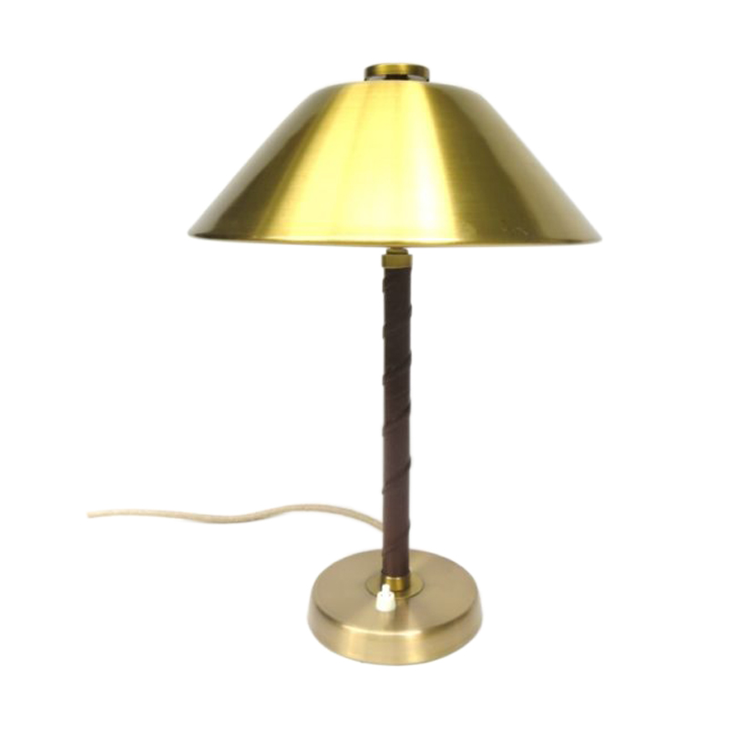Table lamp, Einar Bäckström, Sweden, 40ies, brass, leather
