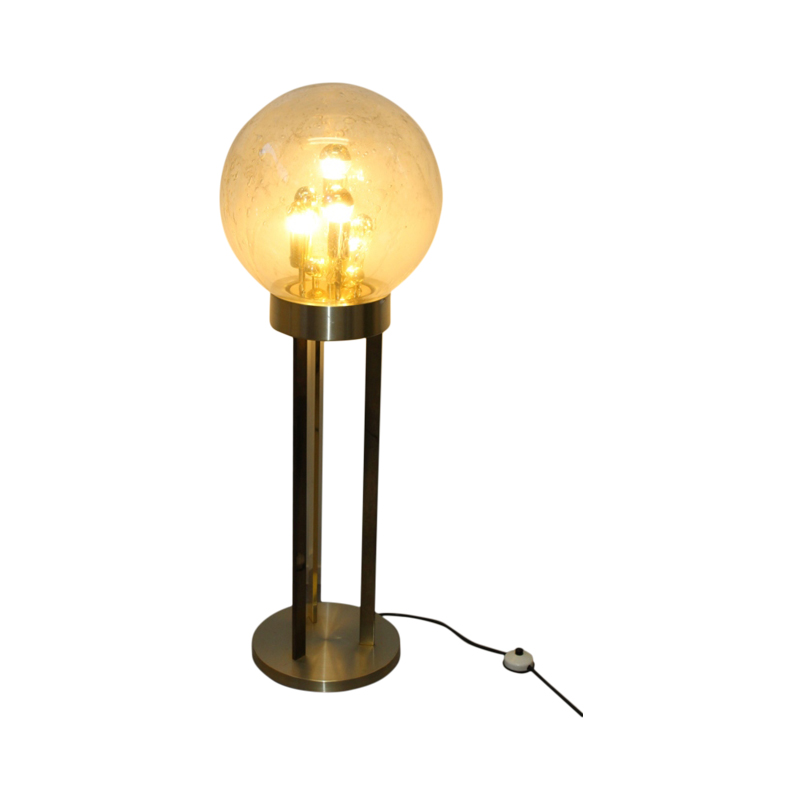 Brass & Glass Globe Floor Lamp from Doria Leuchten, 1970s