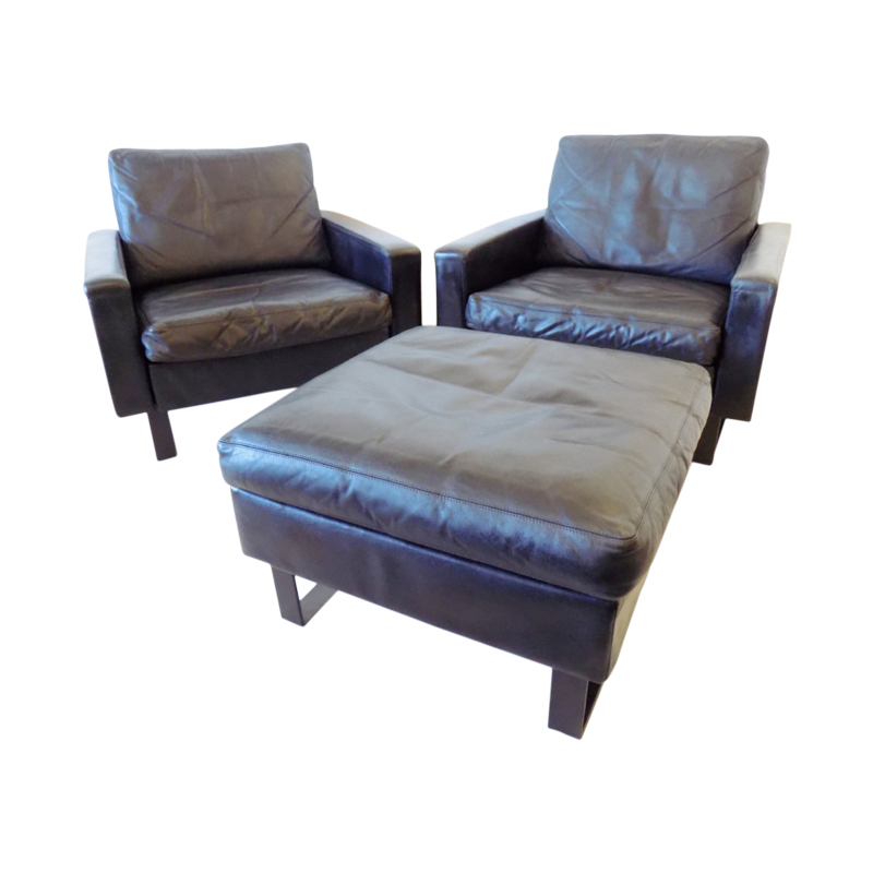 COR Conseta set of 2 black leather lounge chairs with ottoman by F.W. Möller
