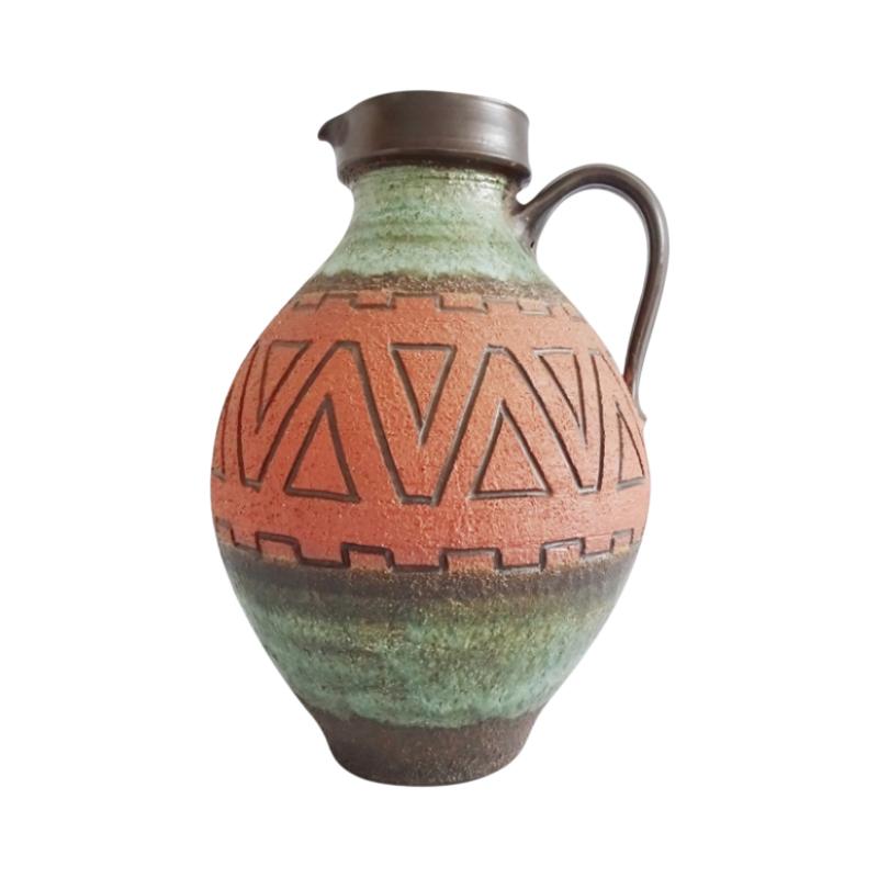 large floor vase green orange, brown with structure, Mid Century Fat Lava handle vase
