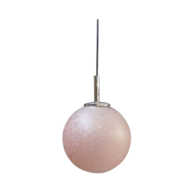 Doria glass ball hanging lamp in pink, pendant lamp 1960s