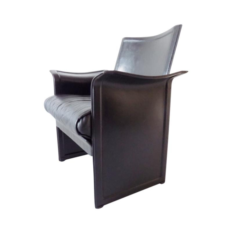 Matteo Grassi Korium black saddle leather armchair by Tito Agnoli
