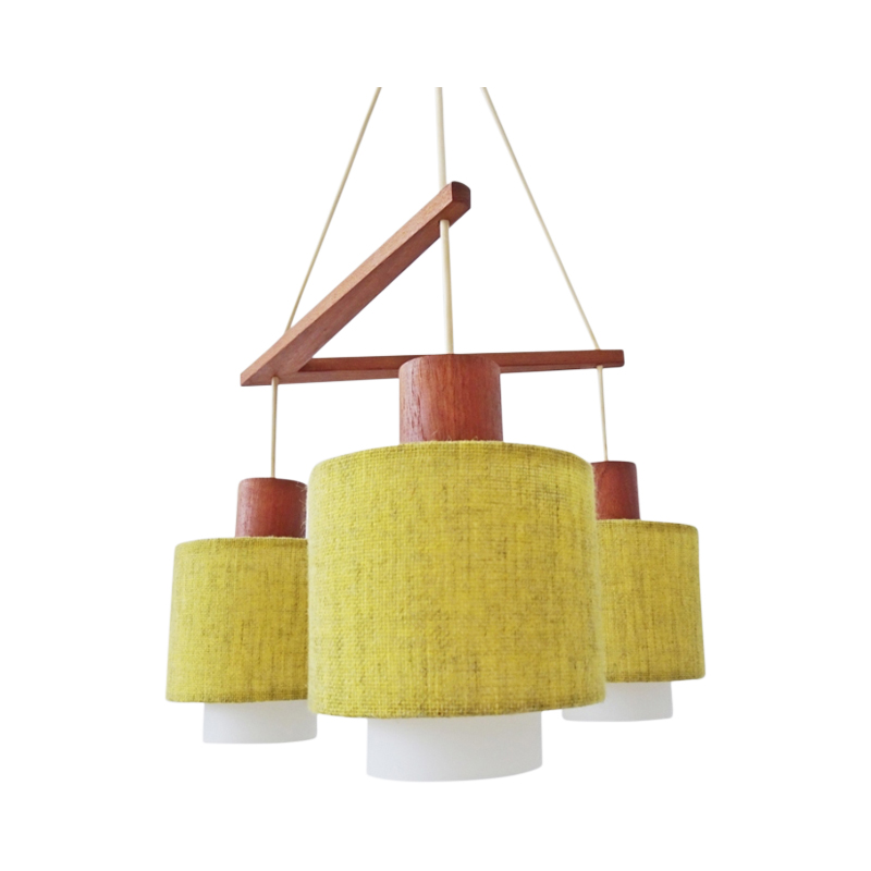 Scandinavian hanging lamp made of teak, opal glass and fabric shades, mid-century chandelier with three arms