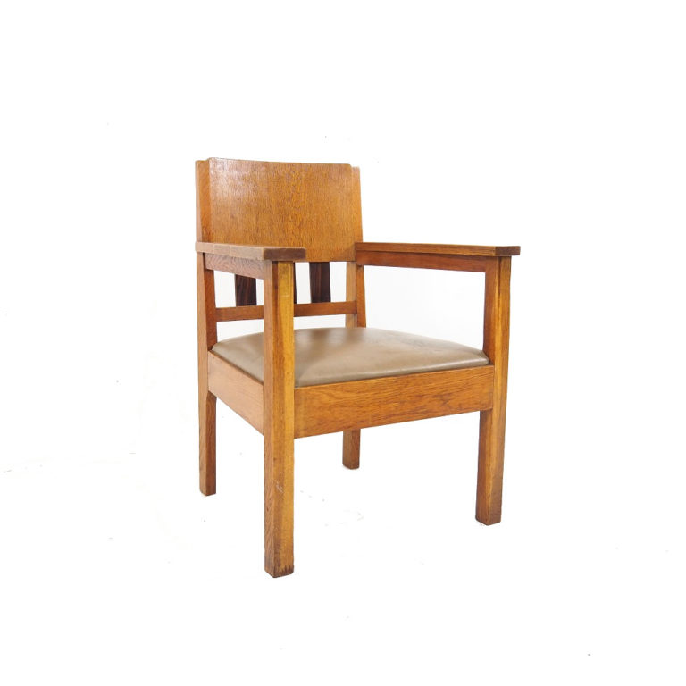 Dutch oak and rosewood 'Haagse School' armchair, 1930's