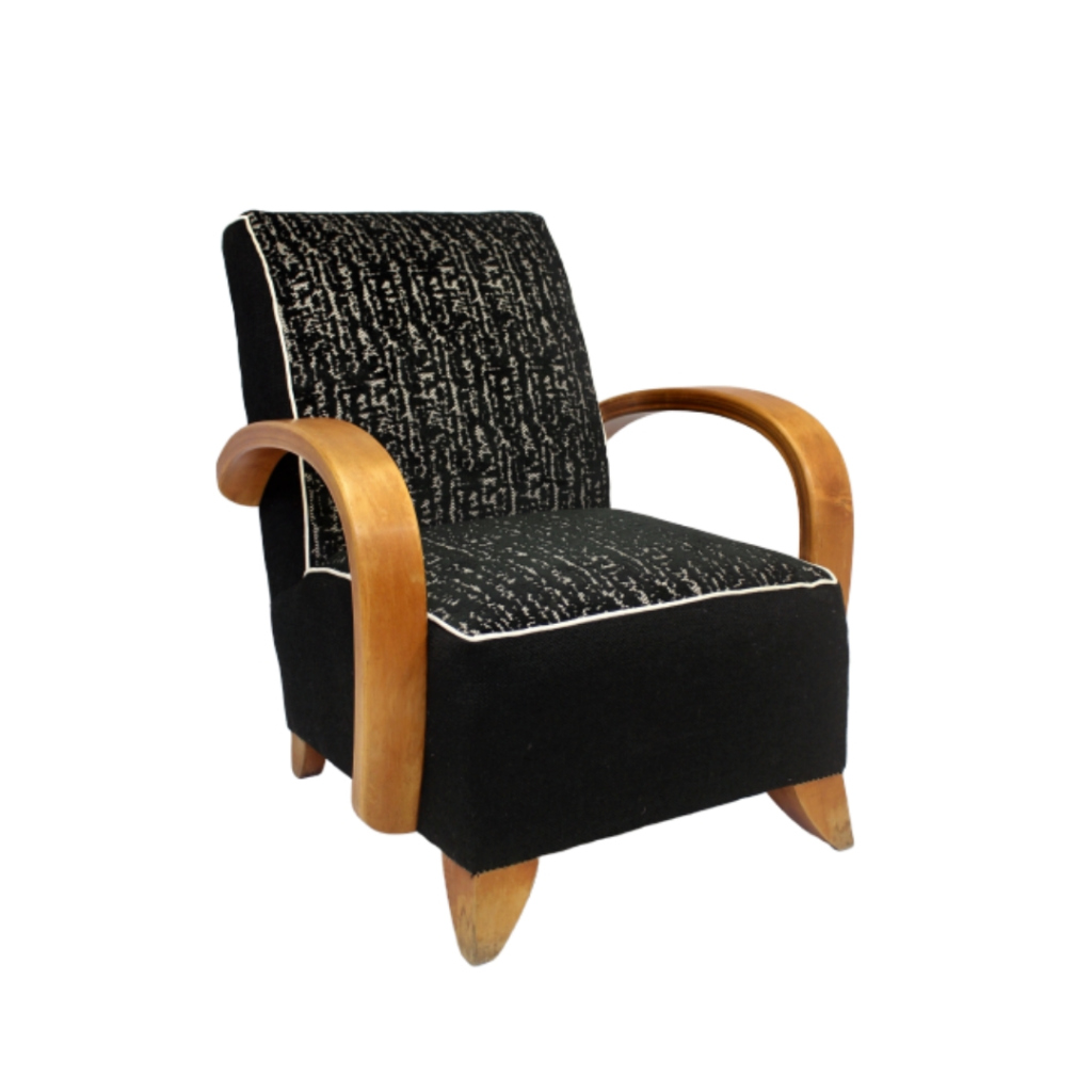 Art Deco armchair 1930 curved wood in the style of Jindřich Halabala, upholstered.