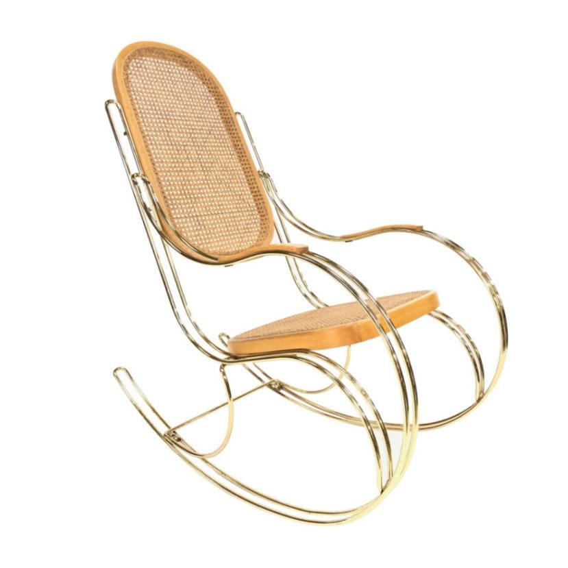 Vintage rocking chair brass bentwood style design regency