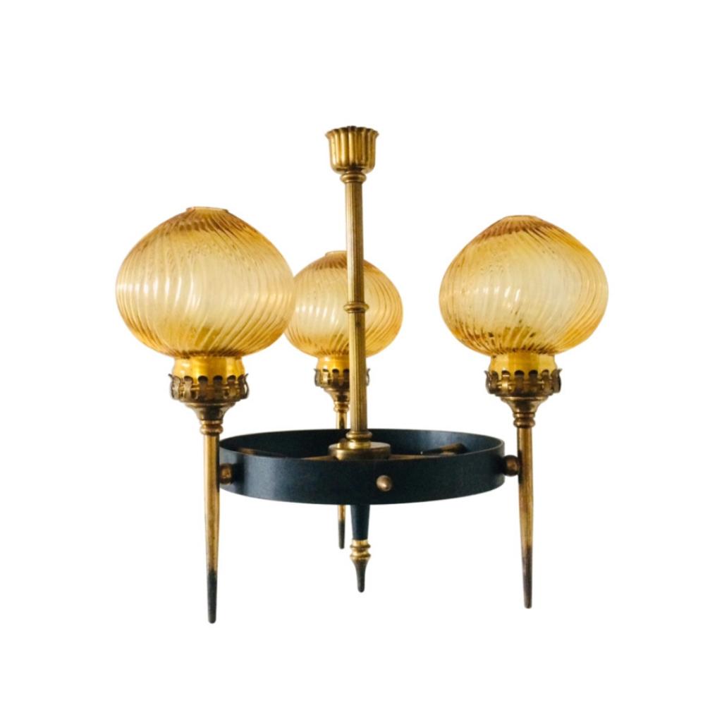 Midcentury Modern Atomic Age Design Pendant hanging Lamp 1950's