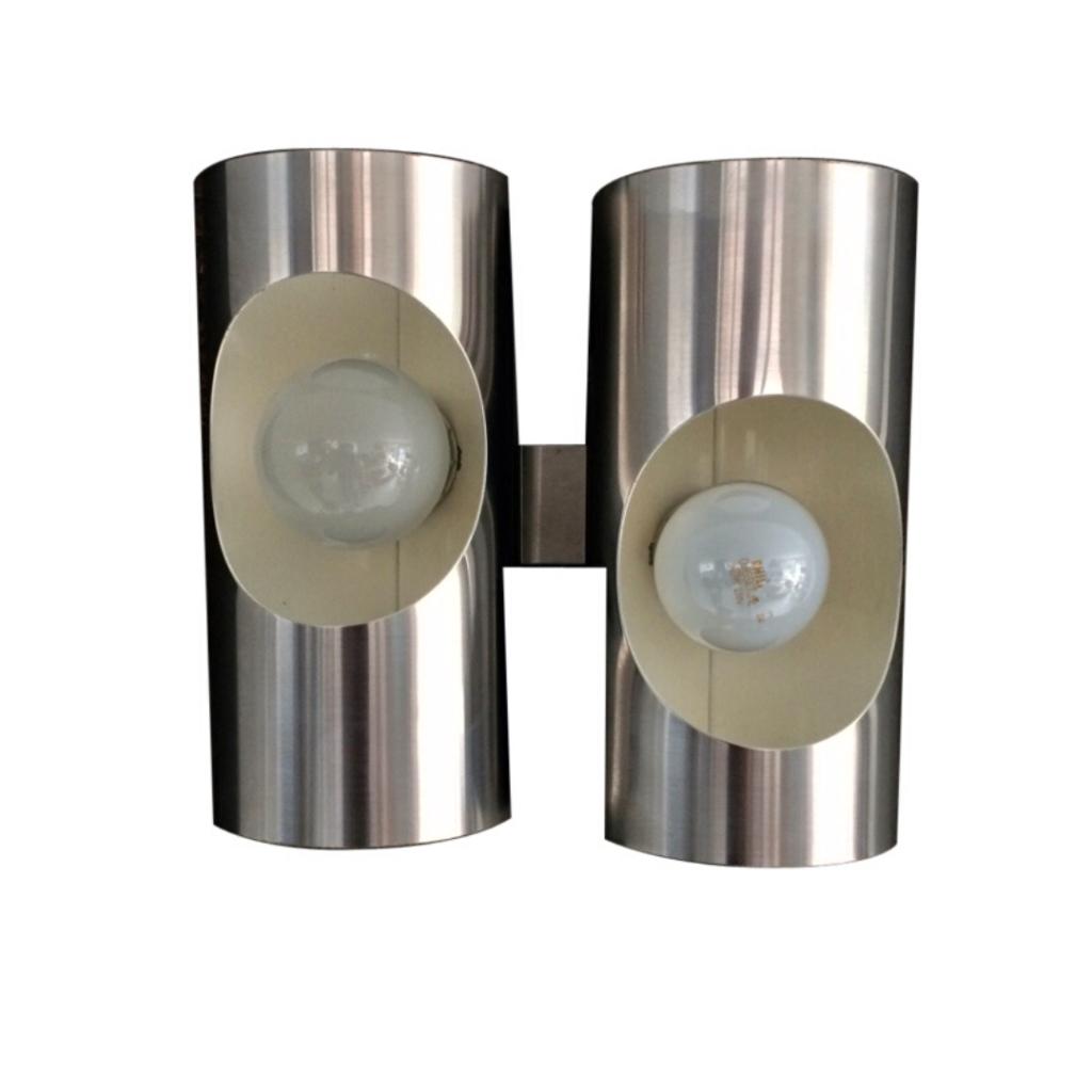 Vintage 1970's Design Tubular Aluminium Double Wall Lamp Sconce