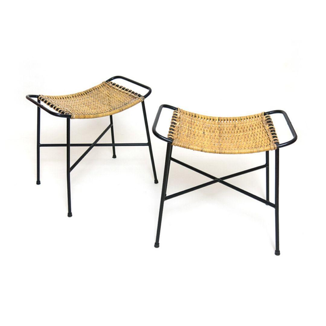 Pair of 50s woven cane stools design attr. Gian Franco Legler