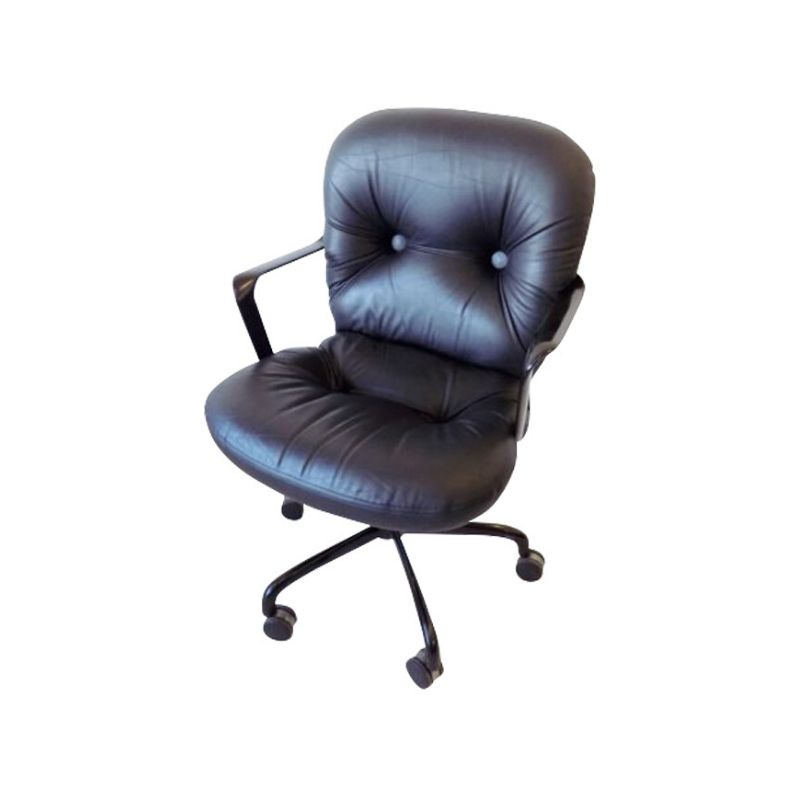 Knoll Int. black leather office chair 2328 by Bruce Hannah & Andrew Morrison