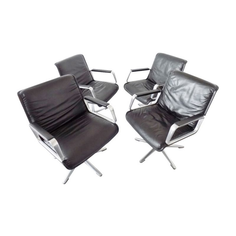 Wilkhahn Delta 2000 set of 4 black leather chairs by Delta Design
