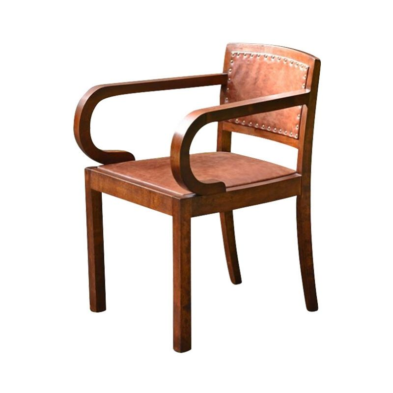 Art Deco Beech and Leather Armchair, 1930s