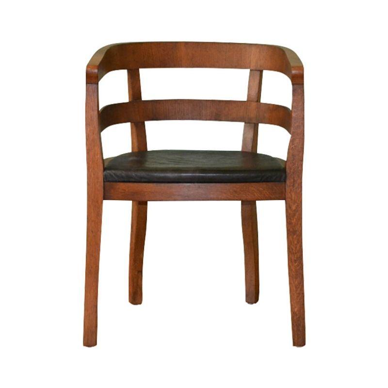 Art Deco Leather & Oak Armchair, 1930s