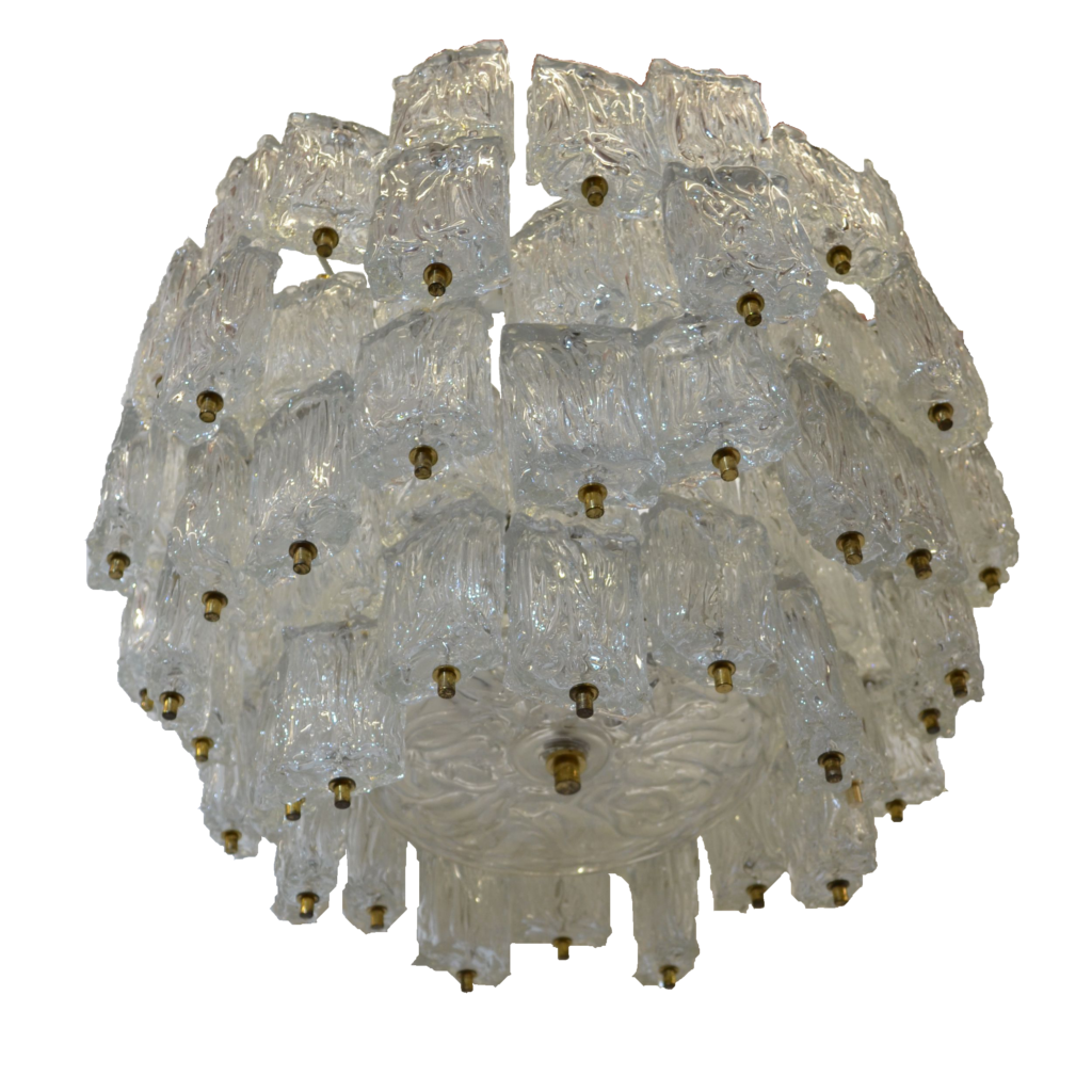 Large Vintage Glass Chandelier by Aureliano Toso for Venini, Italy 1960s