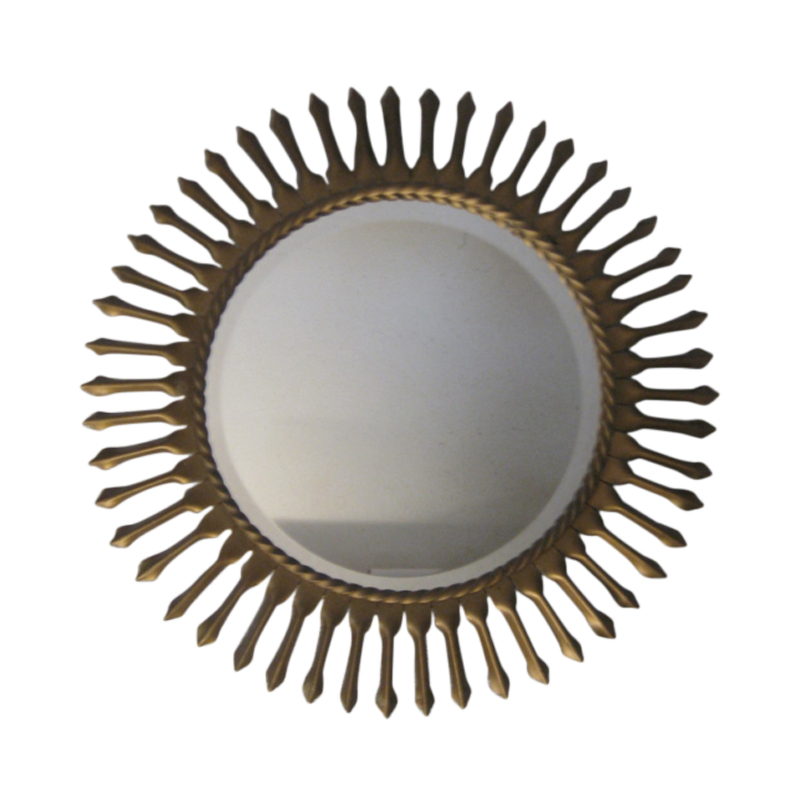 Sun mirror, golden metal, 1950s