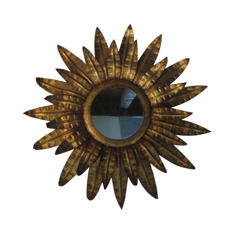 Sun mirror, golden metal leaves, 1950s
