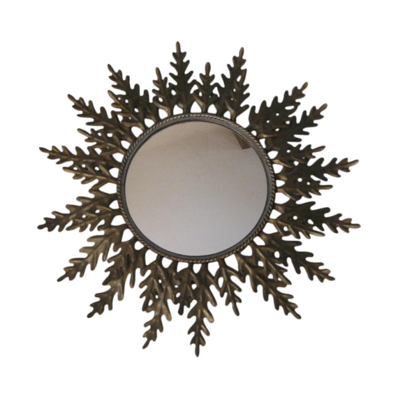 Sun mirror – Oak metal leafs –  1950s