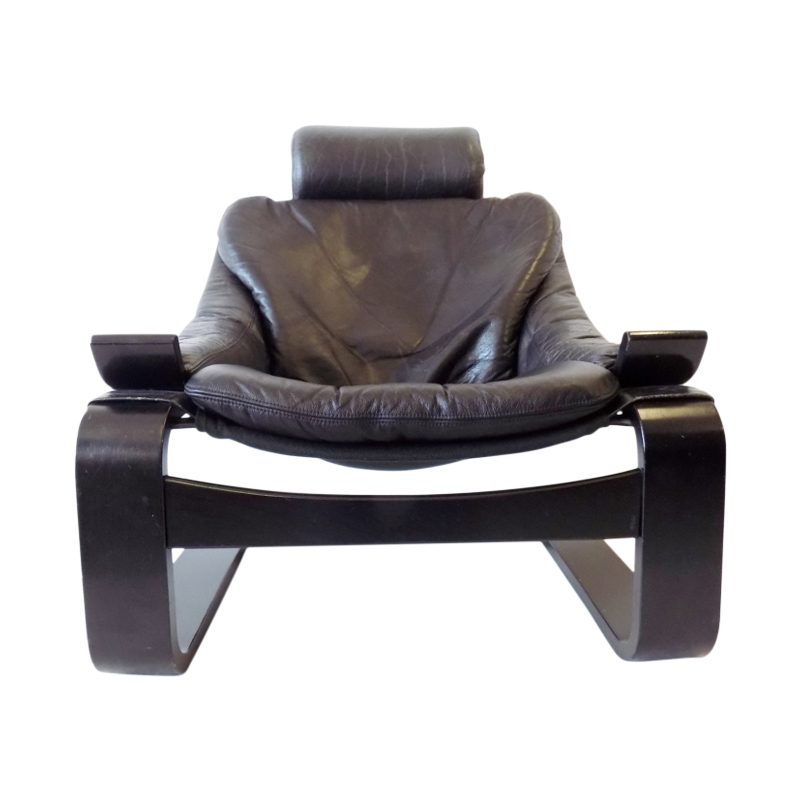 Nelo Kroken black leather lounge chair by Ake Fribytter