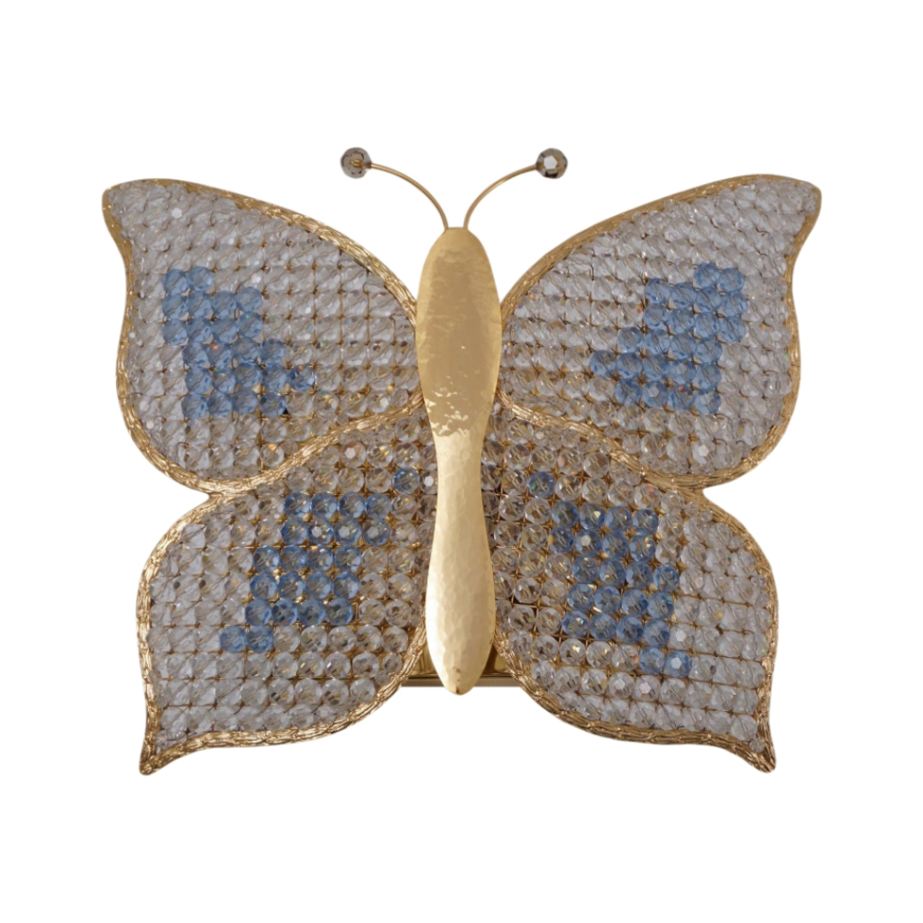 Butterfly wall light, crystal on brass, Palwa, 1970`s ca, German