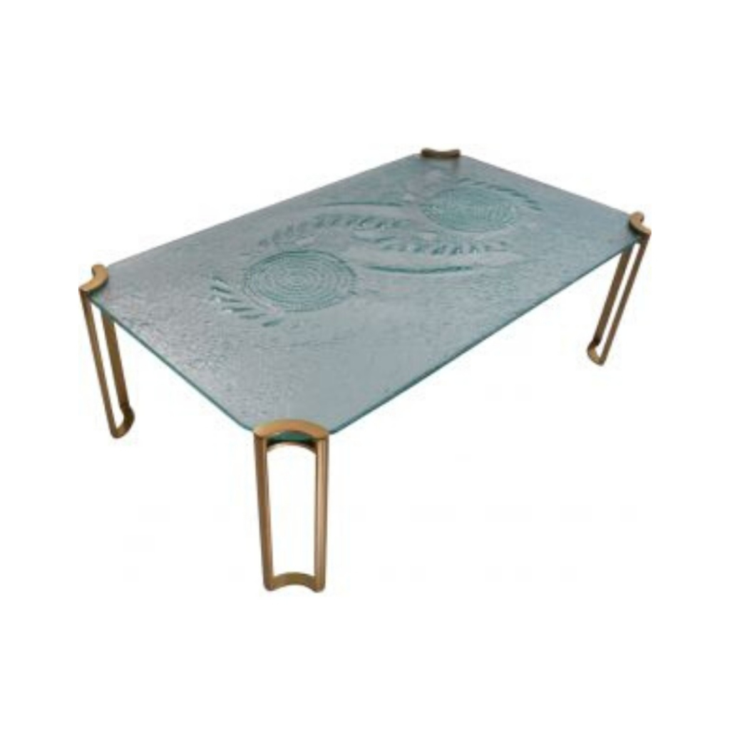 1980's Brutalist coffee table, artisan glass & gold lacquer, Dutch