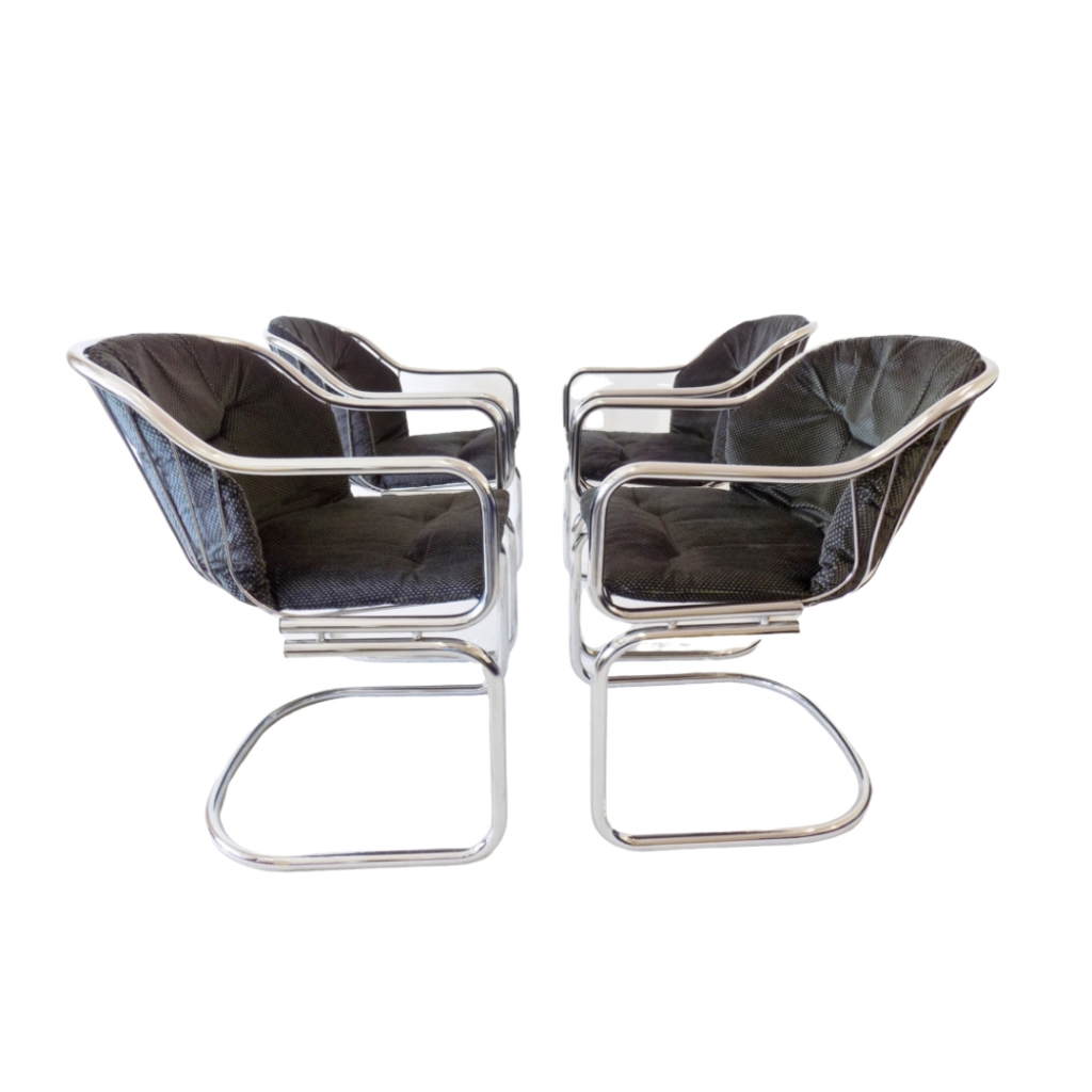 Gastone Rinaldi set of 4 chrome wired dining chairs 70s