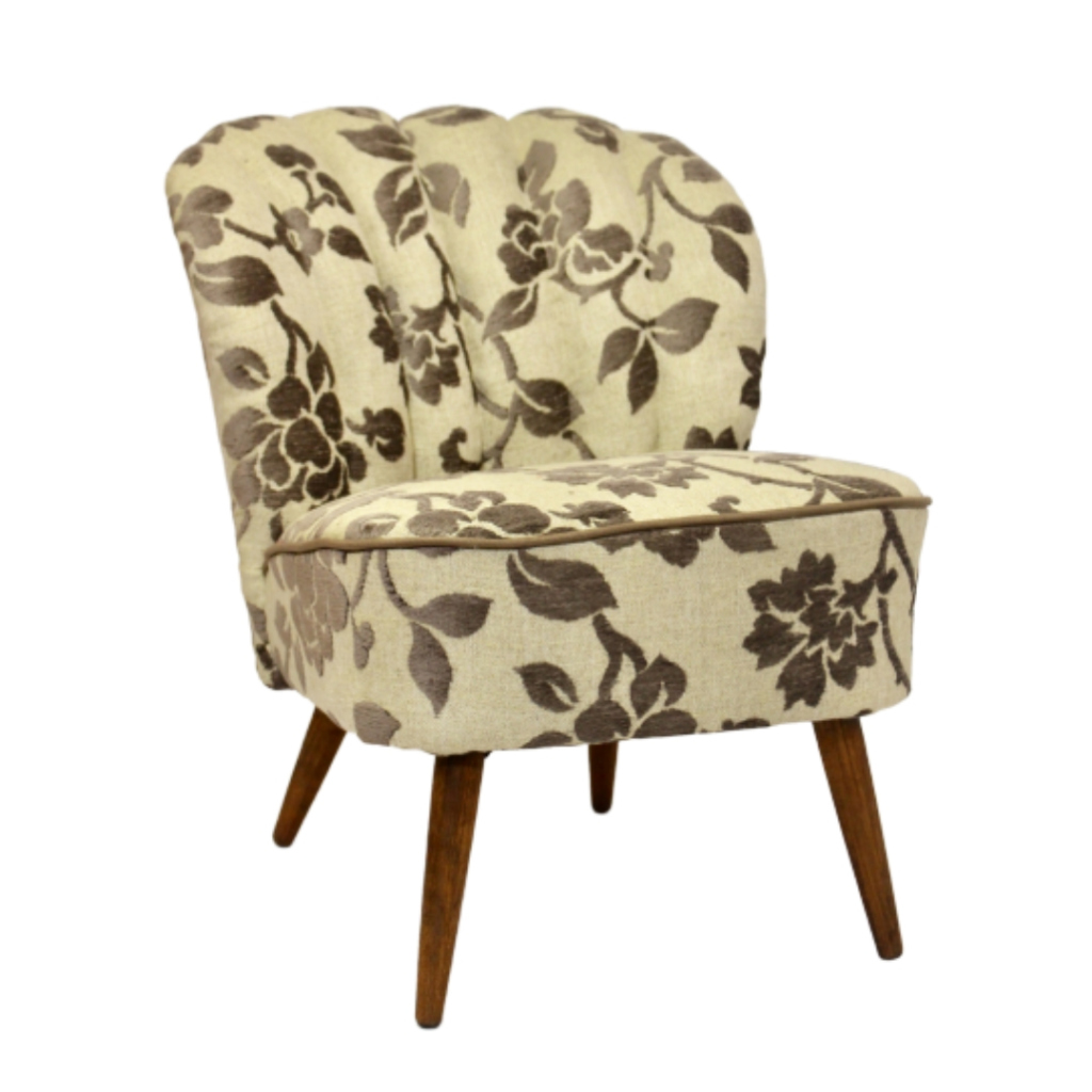 Vintage armchair from the 50's restored in a beautiful jacquard fabric