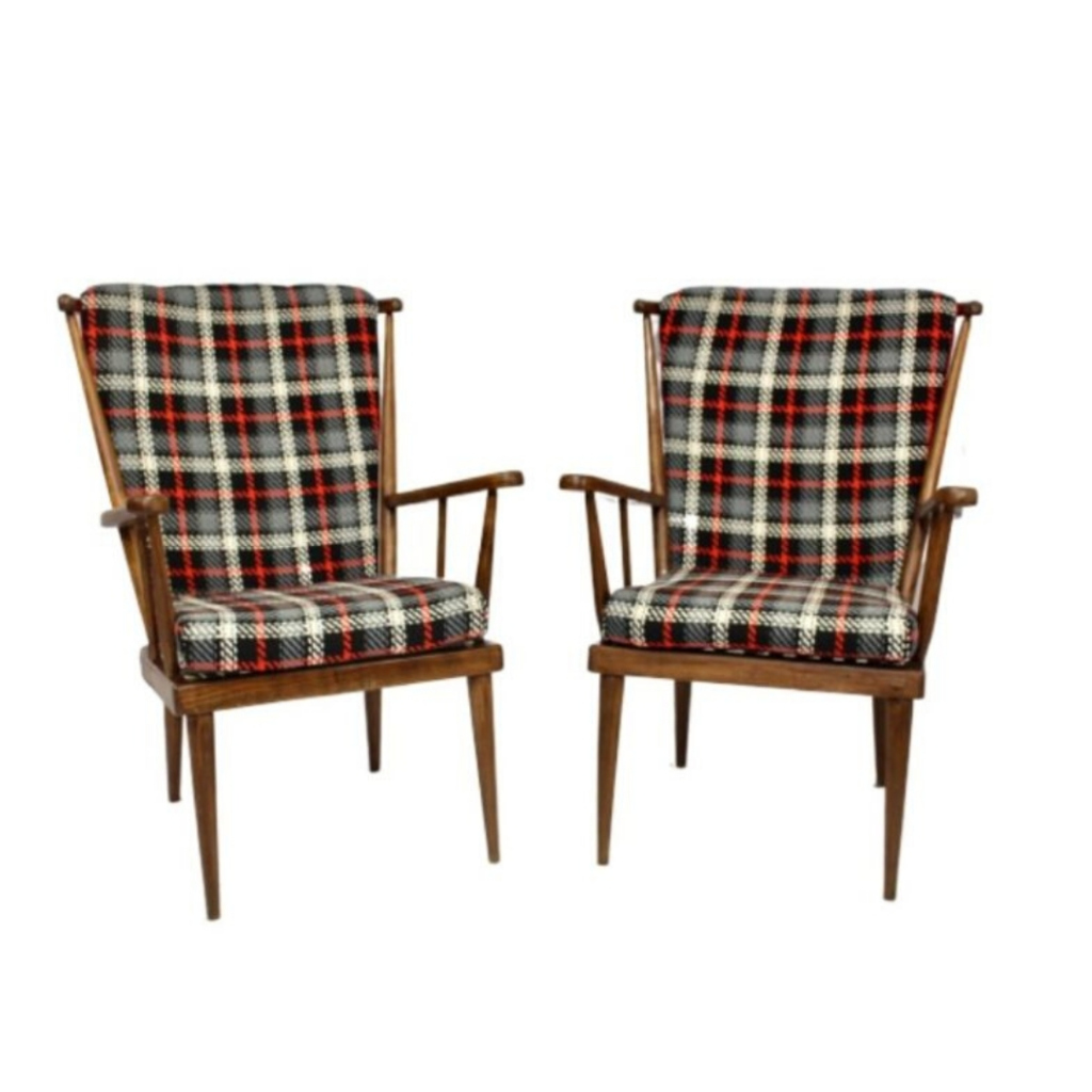 Pair of Baumann armchairs '60s fan, fully restored with checkered fabric.