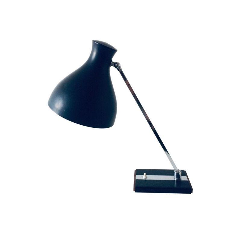 Vintage Design metal, chrome & teak Adjustable Desk Lamp 1960's